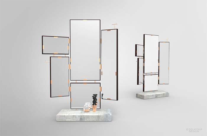 lustro z betonową podstawą